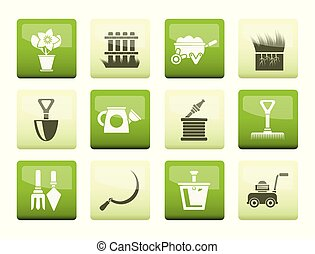 Garden and gardening tools icons over color background