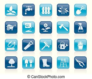 Garden and gardening tools icons