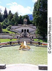 Garden and park of Schloss Linderhof in Germany