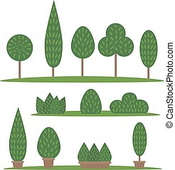 Garden and park set. Cartoon trees and bushes