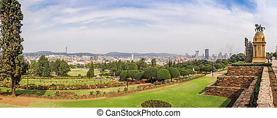 Garden and Pretoria downtown taken from Union Buildings, South Africa