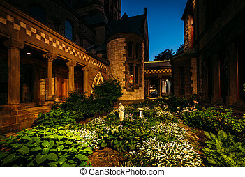 Garden and Trinity Episcopal Church, at Copley Square, in Back Bay, Boston, Massachusetts.