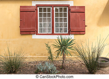 Garden and window of a parsonage in Genadendal