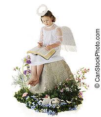 Garden Angel Reading God's Word