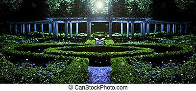 garden at night depiction