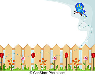 Background Illustration Featuring a Cute Butterfly Checking Out One Flower After Another