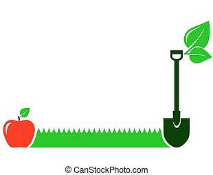 garden background with grass, fruit, leaf, shovel