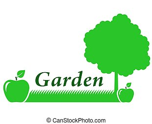 garden background with green apple