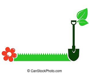 garden background with shovel, grass, flower, leaf