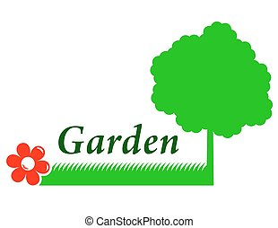 garden background with tree, grass and flower