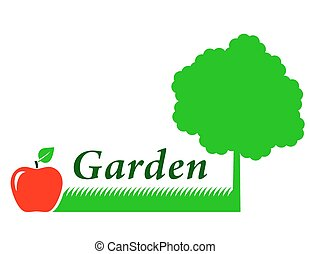 garden background with tree, grass and fruit