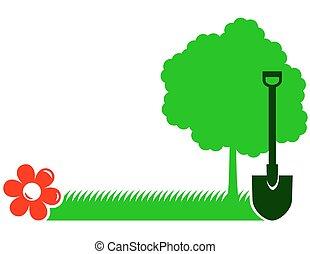garden background with tree, shovel