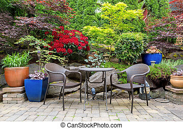 Garden Backyard Landscaping with Bistro Furniture