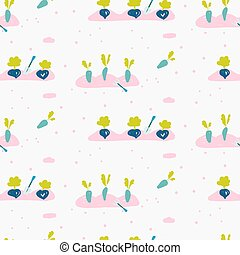 Garden bed seamless pattern with hand drawn gardening tools and vegetables seeds. Vector illustration.