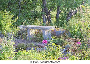Garden bench made of stone