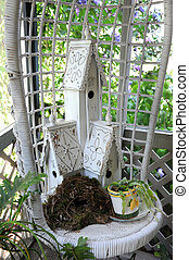 Garden Birdhouses in White Shabby Chic