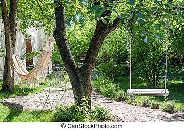 garden., bois, grand, cordes, balançoire, arbre, hamac, sous