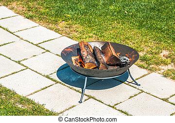 Garden bonfire in a garden