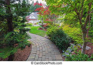 Garden Brick Path in Frontyard - Garden brick paver path in...