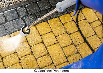 Garden Brick Path Washing