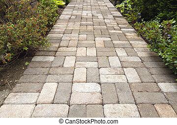 Garden Brick Pavers Path Walkway with Basket Weave Pattern