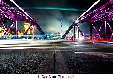 garden bridge at night of shanghai china