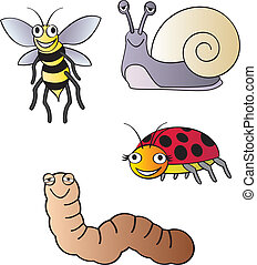 Garden bugs - Five different fun cartoon bugs that are...