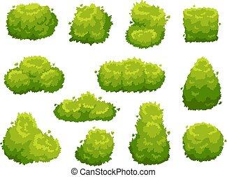 Garden bush. Green garden vegetation bushes. Cartoon shrubs for decorate landscape vector set