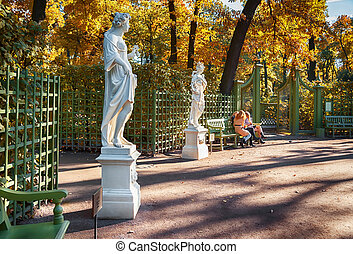garden by autumn in St-Petersburg