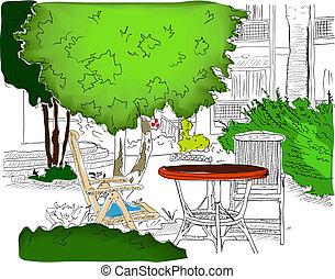 garden., café, coloré, version2, partiellement