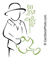 Garden caring - Gardener taking watering can in the hand