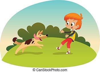 garden., carino, poco, suo, activities., illustration., ragazzo, concept., cane, correndo, vettore, attraverso, amico, fuori, sorridente, neighborhood., gioco, meglio