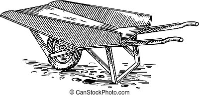 Garden cart standing on the ground isolated