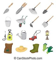Garden cartoon icons set