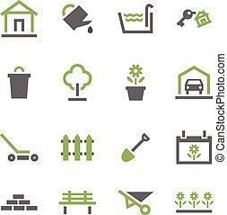 garden., casa, icone
