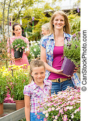 Garden center woman with girl buying flowers