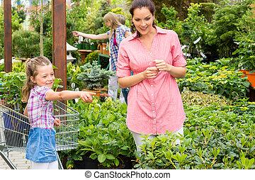 Garden centre child mother at plant market