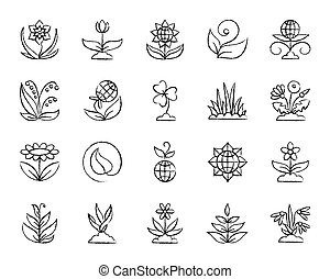 Garden charcoal draw line icons vector set