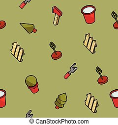 Garden color outline isometric pattern