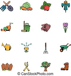 Garden comics icons set cartoon