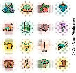 Garden comics icons set