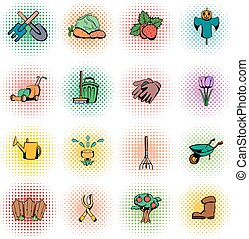 Garden comics icons set