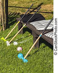 Garden croquet game