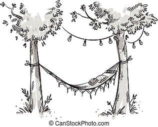 garden., croquis, vecteur, hamac, confortable
