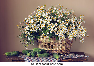 Garden daisies in a basket and fresh cucumbers.