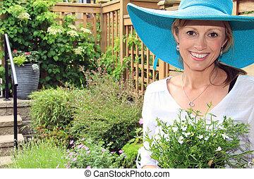 garden., dame, jardinier