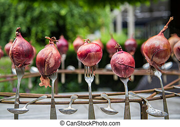 Garden decoration with onions