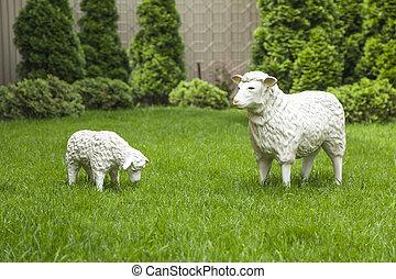 Garden decorative statue. sheep