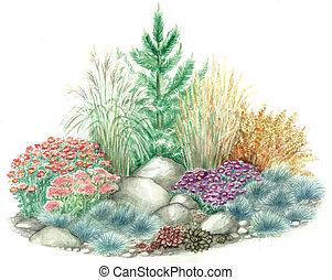 Garden design of rockery