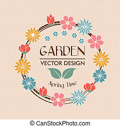 garden design over pink background vector illustration